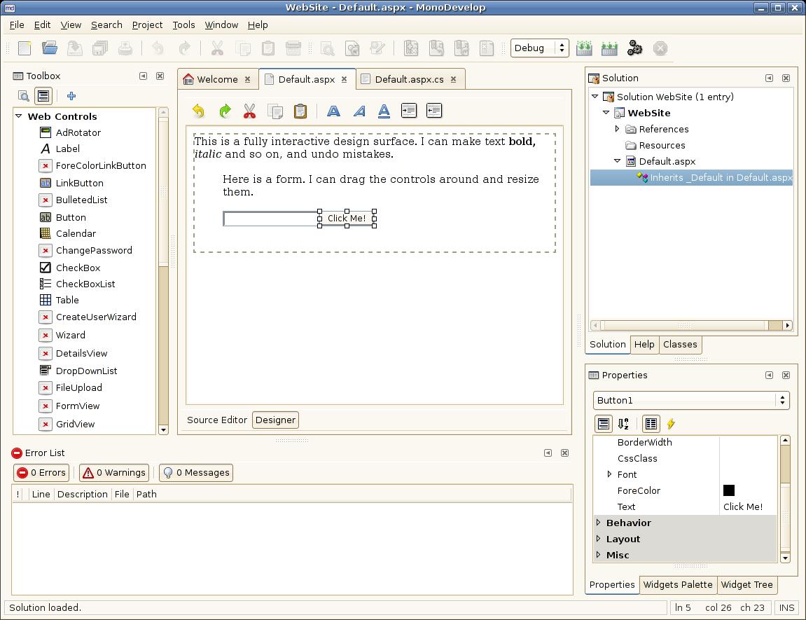 ASP.NET Visual Designer | Mono