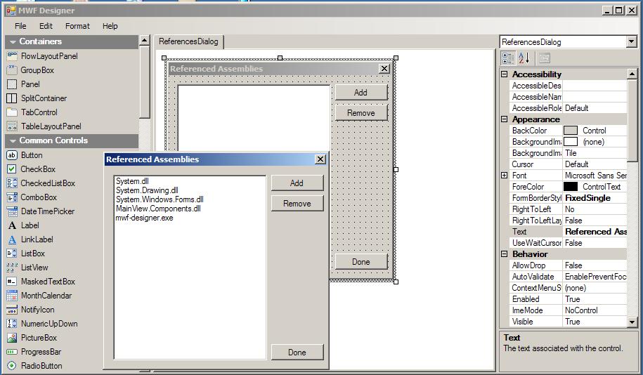 WinForms Designer | Mono
